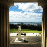 View over the memorial entrance to the Auckland War Memorial Museum